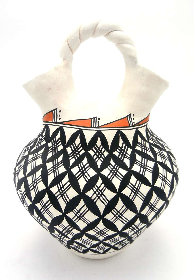 Traditional Acoma Wedding Vase with black and red designs by Beverly Garcia