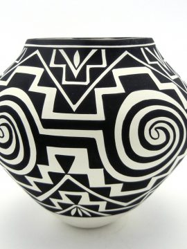Acoma Kathy Victorino Black and White Tularosa and Step Design Jar
