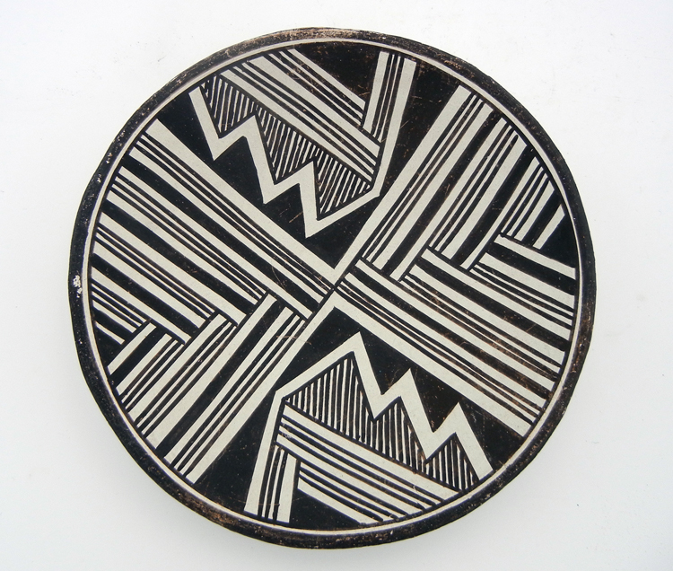 Acoma Lucy M. Lewis Small Black and White Handmade and Hand Painted Plate circa 1960's