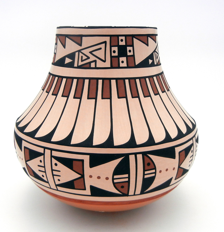San Ildefonso buff polished and painted large jar by Erik Fender