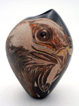 Santa Clara Bernice Naranjo Brown Polished and Etched Eagle Pot
