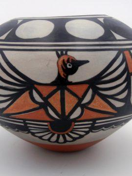 Santo Domingo Robert Tenorio Polychrome Thunderbird and Feather Pattern Bowl