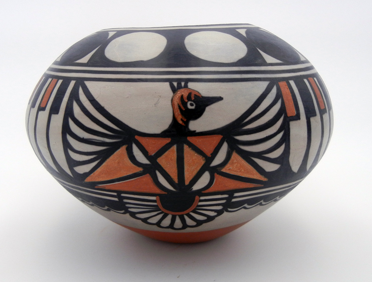 Santo Domingo Thunderbird and Feather pattern polychrome bowl by Robert Tenorio