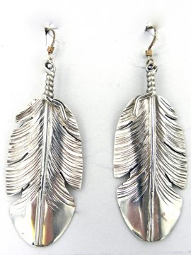 Navajo Ben Begay Sterling Silver Feather Dangle Earrings