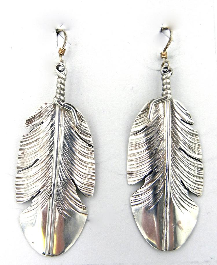 Navajo Ben Begay Sterling Silver Feather Dangle Earrings