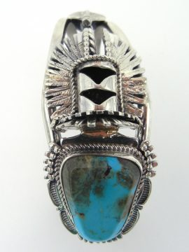 Navajo Bennie Ration Turquoise and Sterling Silver Crow Mother Cuff Bracelet