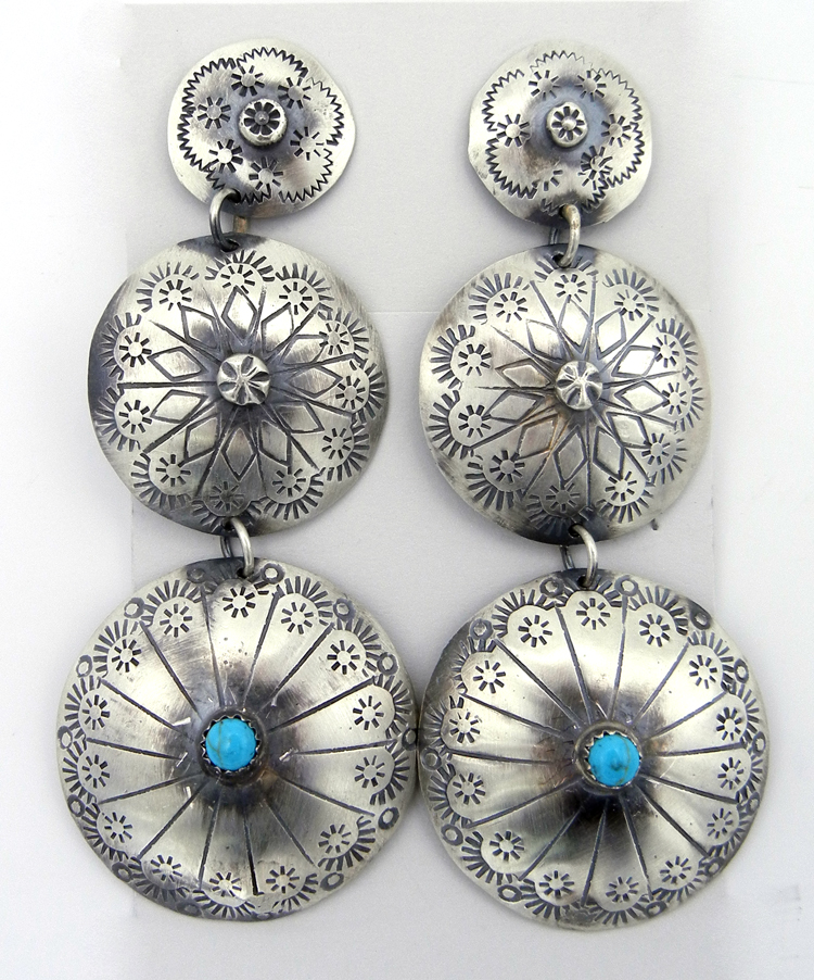 Navajo Tim Yazzie Large Brushed Sterling Silver and Turquoise Medallion Dangle Earrings