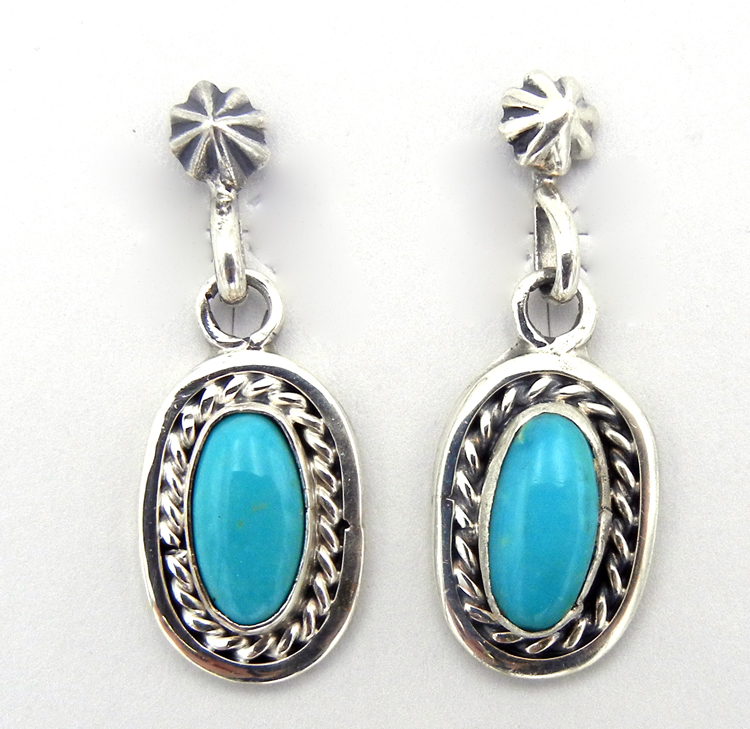 Small Navajo turquoise and sterling silver dangle earrings