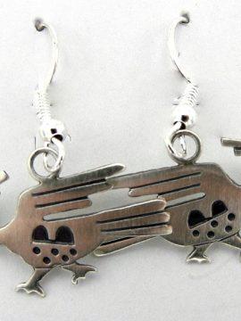 Navajo Sterling Silver Roadrunner Earrings