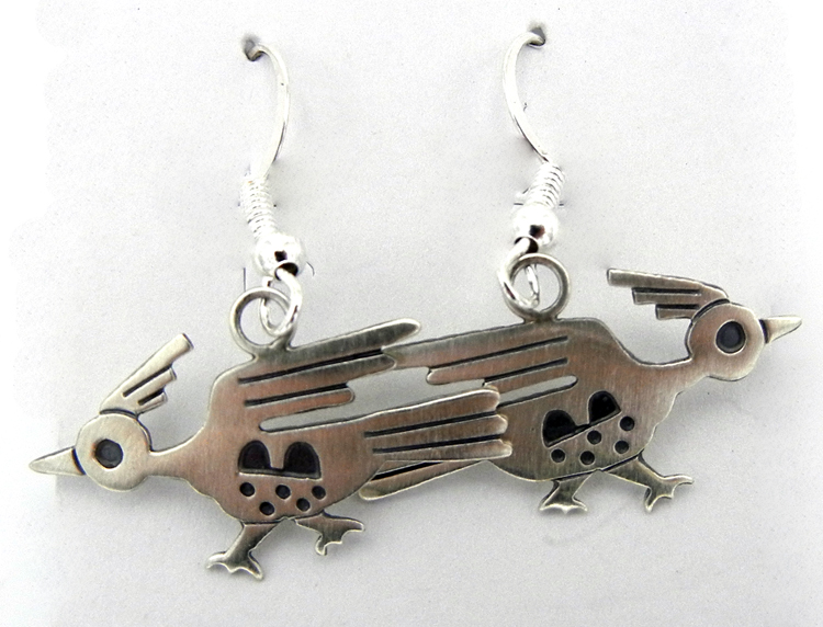 Navajo Sterling Silver Roadrunner Earrings