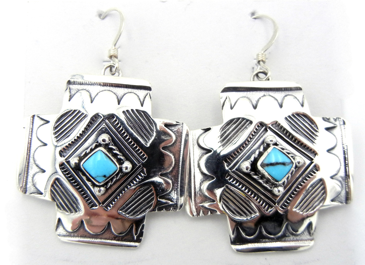 Navajo Sterling Silver and Turquoise Cross Earrings