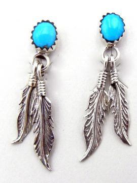 Navajo Small Turquoise and Sterling Silver Double Feather Earrings