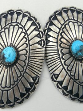 Navajo Large Brushed Sterling Silver and Turquosie Concho Style Earrings