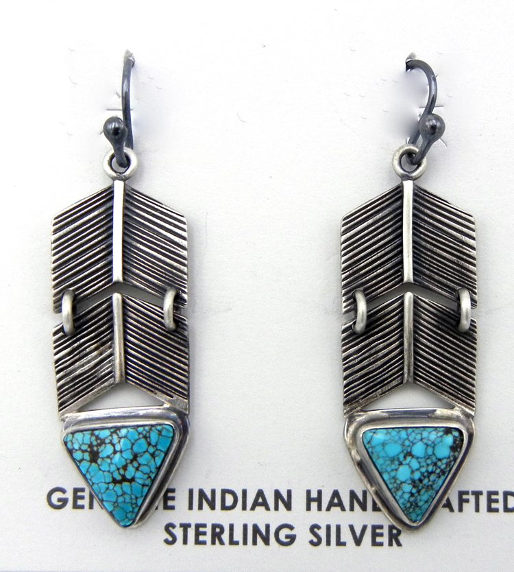Navajo sterling silver and turquoise feather dangle earrings