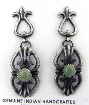 Navajo sandcast sterling silver and green turquoise earrings by Linberg and Eva Billah