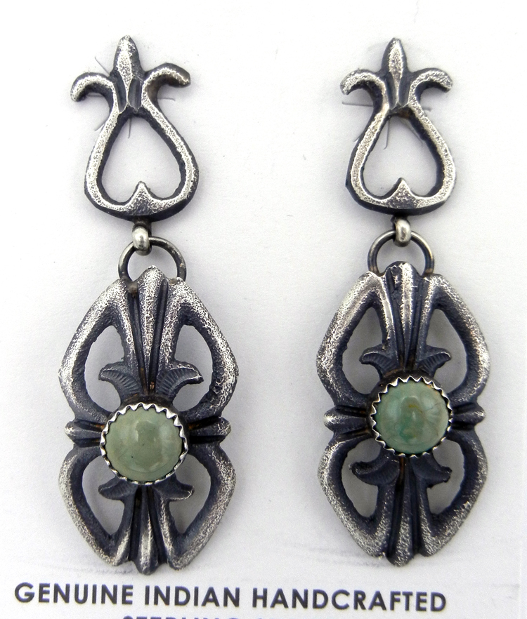 Navajo Linberg and Eva Billah Sandcast Sterling Silver and Green Turquoise Earrings