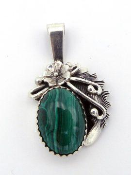 Navajo Peterson Johnson Small Malachite and Sterling Silver Pendant