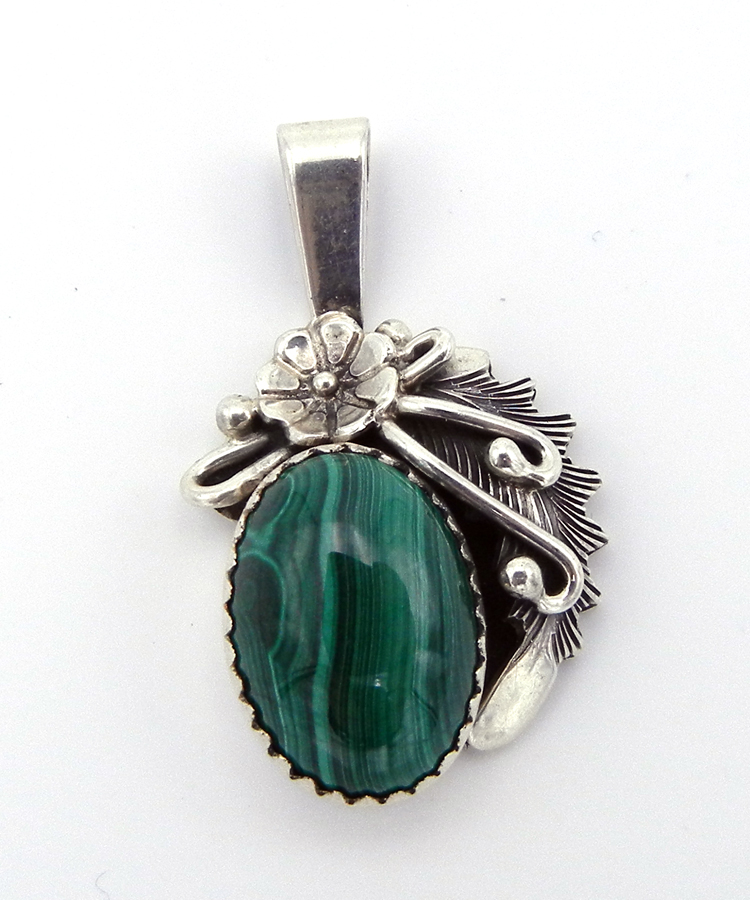 Navajo Peterson Johnson Small Malachite and Sterling Silver Pendant