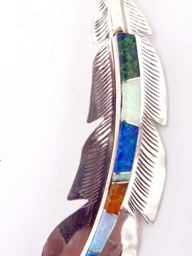 Navajo Billy Long Multi-Colored Lab Opal and Sterling Silver Feather Pendant