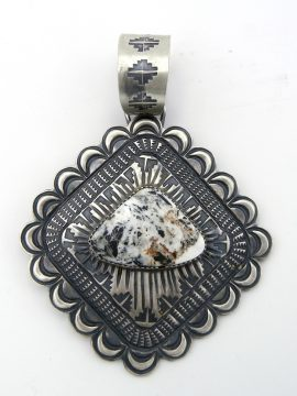 Navajo Shawn Cayatineto Large Brushed Sterling Silver and White Buffalo Pendant