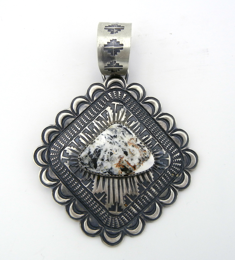 Navajo Shawn Cayatineto Large Brushed Sterling Silver and White Buffalo Pendant