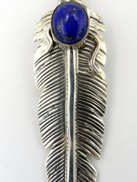 Navajo June Defauito Lapis and Sterling Silver Feather Pendant