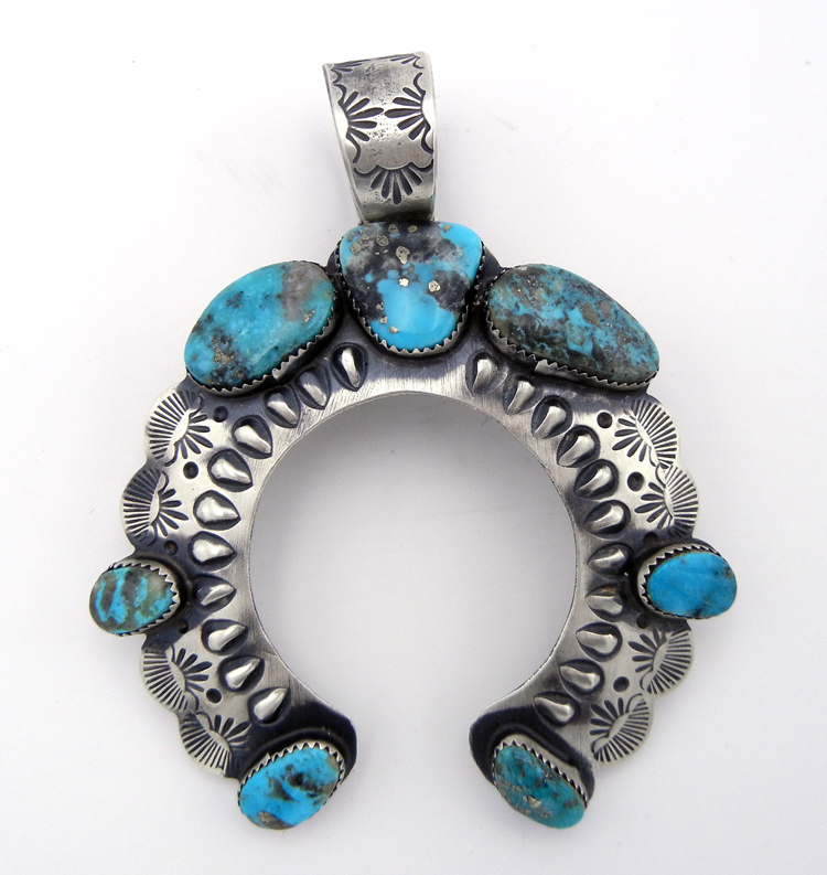 Large sandcast sterling silver and turquoise naja pendant by Shawn Cayatineto