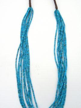 Santo Domingo Deanna Tenorio 10 Strand Natural Kingman Turquoise Heishi Necklace