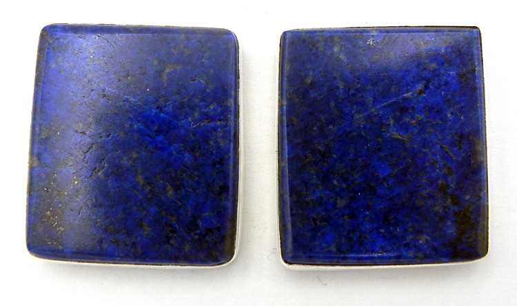 Santo Domingo lapis and sterling silver earrings by Ronald Chavez