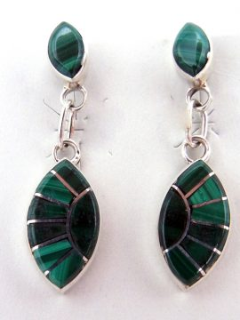 Zuni Malachite and Sterling Silver Small Inlay Dangle Earrings