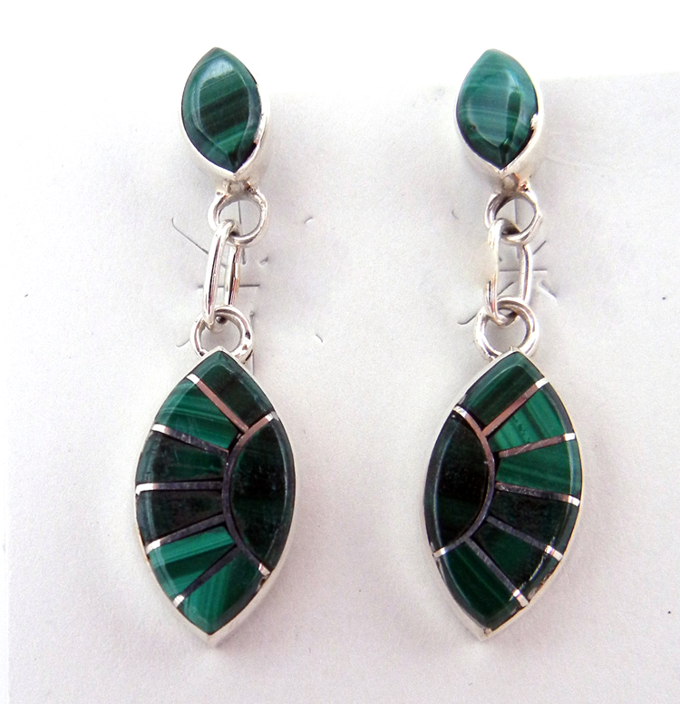 Zuni malachite and sterling silver inlay dangle earrings