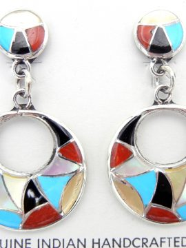 Zuni Multi-Stone Inlay and Sterling Silver Cut Out Earrings