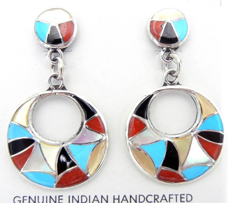 Zuni multi-stone and sterling silver inlay cut out earrings