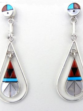 Zuni Multi-Stone Inlay and Sterling Silver Dangle Earrings with Sunface Posts