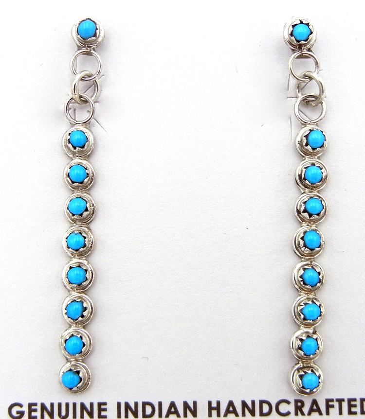 Zuni Sleeping Beauty Turquoise Petit Point dangle earrings