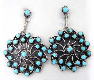 Zuni sterling silver and turquoise pinwheel dangle earrings by Vivianita Booqua