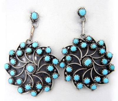 Zuni sterling silver and turquoise pinwheel dangle earrings by Vivianita Booqua