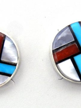 Zuni Small Multi-Stone Inlay Post Earrings