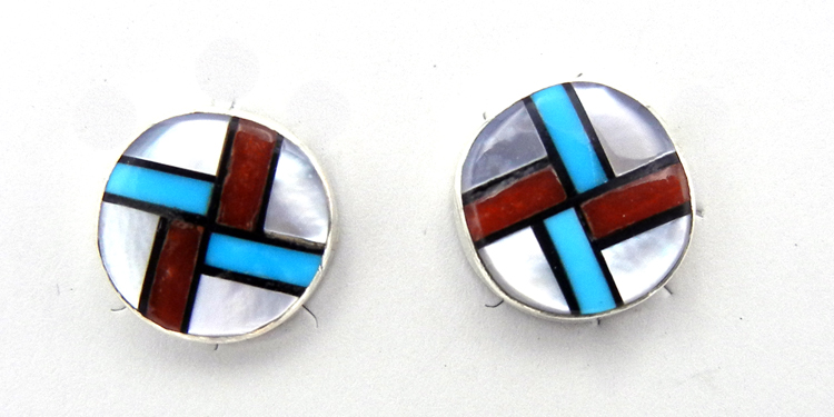Small Zuni multi-stone inlay and sterling silver post earrings