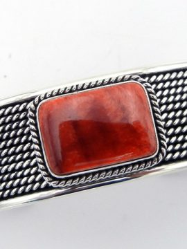 Navajo Bernyse Chavez Red Spiny Oyster Shell and Sterling Silver Cuff Bracelet