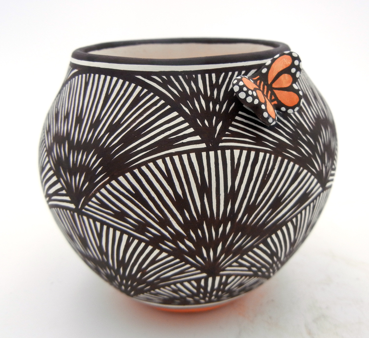 Acoma small black and white fine line jar featuring butterfly and red accents by Marilyn Ray