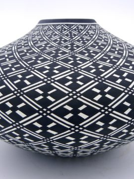 Acoma Paula Estevan Handmade and Hand Painted Black and White Eye Dazzler Seed Pot