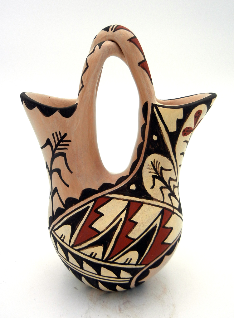 Jemez Juanita Fragua Buff Polished and Painted Wedding Vase with Braided Handle