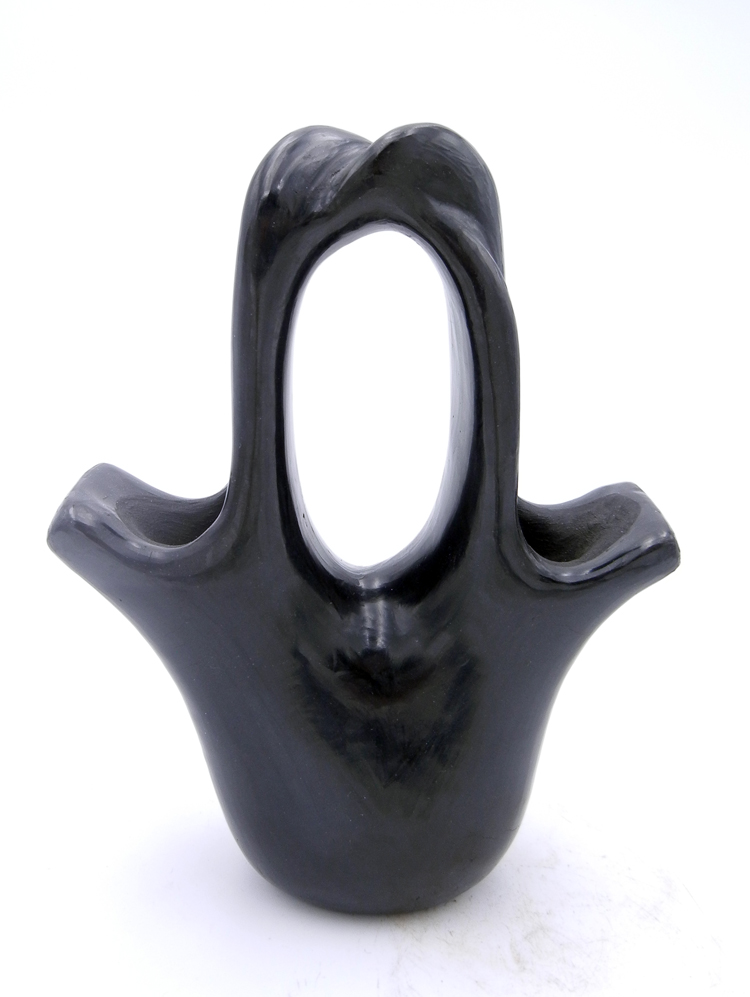 Santa Clara Pauline Marie Bourdon Handmade Black Polished Wedding Vase with Braided Handle