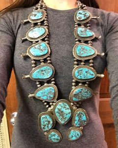 Vintage Native American turquoise and sterling silver squash blossom necklace