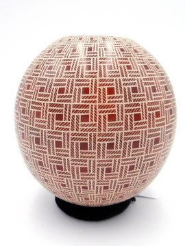 Mata Ortiz Leonello Pezsaezn Red and White Etched Checkerboard Jar