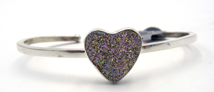 Navajo druzy and sterling silver heart cuff bracelet