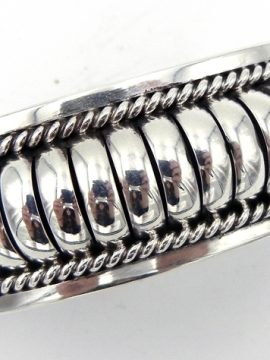 Navajo Thomas Charley Sterling Silver Domed Cuff Bracelet