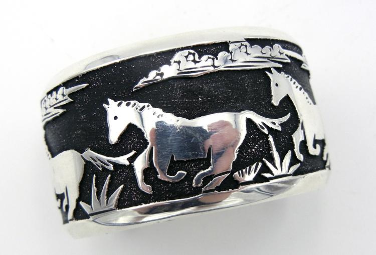 Navajo Rosita Singer Sterling Silver Overlay Horse Cuff Bracelet