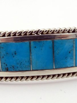 Zuni Sleeping Beauty Turquoise and Sterling Silver Channel Inlay Cuff Bracelet